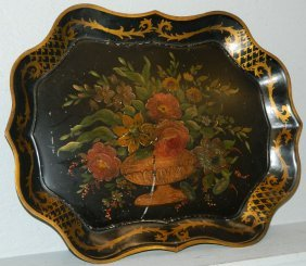 Hand Painted Tole Tray.