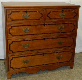 19th C. American Rosewood Banded Mahog Chest