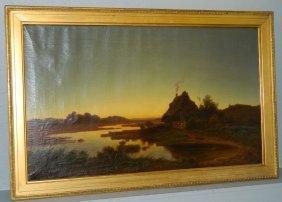 19th C. Ooc Landscape Signed D. Wengauen.