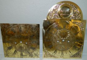 2 Brass Grandfather Clock Faces.