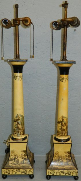 "Pair Of Tole Decorated Lamps. 28"" Tall."