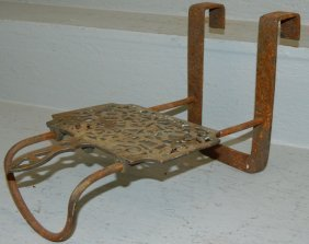 "19th C. Brass Fireplace Trivet. 14"" Tall."