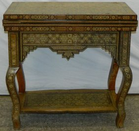 "Syrian Inlaid Game Table. 34"" Tall X 33"" X 34"" Open."