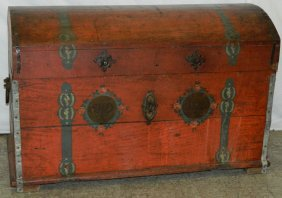 19th C. Paint Decorated Dome Top Trunk.
