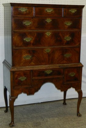 2 Part 19th Qa Burl Walnut English Highboy.