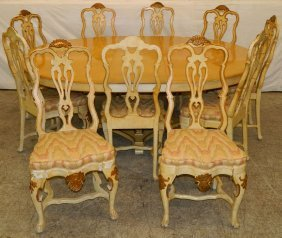 10 Continental Paint Dec. Chairs & Dining Table