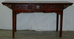 Chinese Carved Chipp Sideboard W/ Side Drawers.