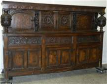18th C. carved & inlaid Eng oak Court cupboard.