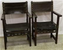 Pair of 18th C Italian walnut arm chairs