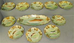Limoges hand painted 11 pc fish service