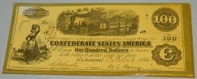 Confederate Richmond $100 Note- 1862