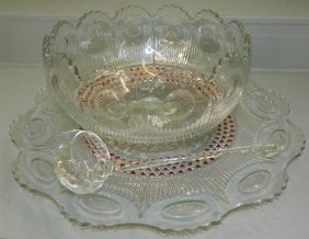 Pattern Glass Punch Bowl W/ Under Plate And Ladle