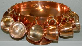 Copper Punch Bowl With 12 Cups.