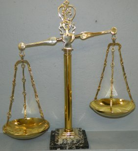 Pair Of Brass Balance Scales With Marble Base.