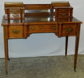 Marquetry And Leather Top French Dressing Table.
