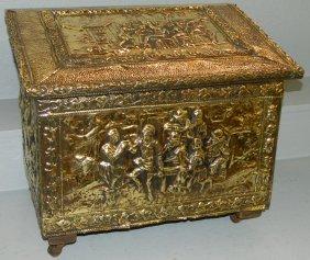 Polished Brass Kindling Box.