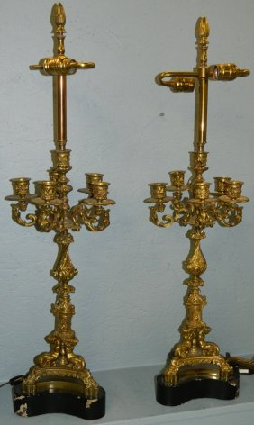 Pair Of French Bronze Candelabra Lamps.