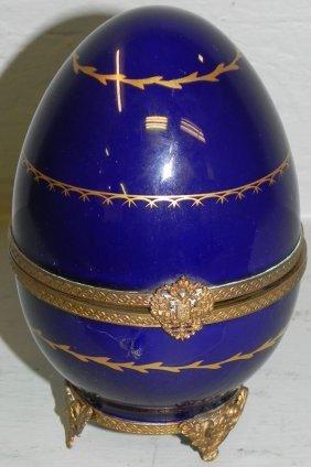 Sterling And Porcelain Faberge Limoges Egg.