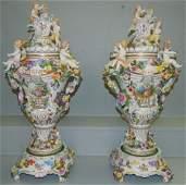 Pr. Museum quality Dresden cherub covered urns