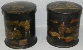 Pair Of Papier Mache Chinoiserie Collar Boxes.