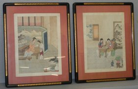 Pair Of Japanese Watercolor On Silk Paintings.