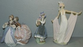 2 Lladro Figures Of Girls, As Is Lladro Deco Figure.