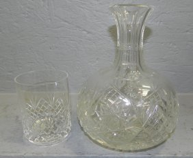 Cut Glass Water Bottle And Tumbler.