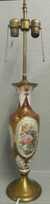 Porcelain Overlaid Cranberry Lamp