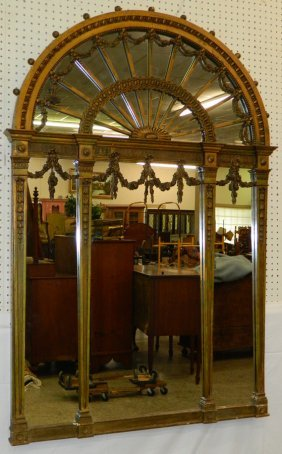 Large Dome Top Gilt French Mirror.