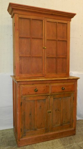 19th C Pine Step Back Cabinet.