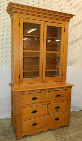 Stepback Pine Cupboard W/ 6 Drawers