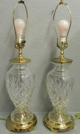 Pair Of Signed Waterford Lamps.