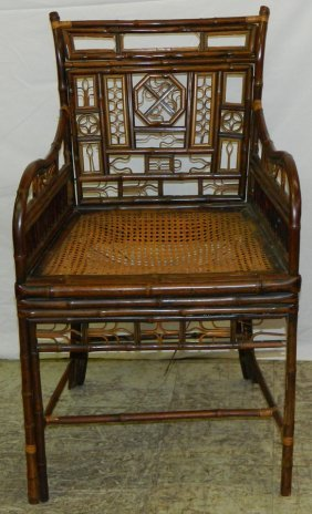 Bamboo And Cane Seat Arm Chair.