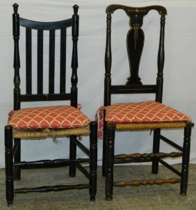 2 Assoc. New England 19th C. Side Chairs.