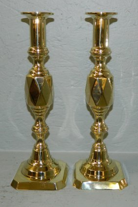 Pair Of Diamond Style Brass Push Up Candlesticks.