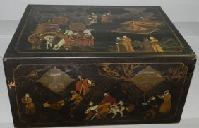 Lacquer Decorated Chinoiserie Style Blanket Chest.