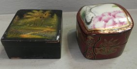 Lacquered Box And Paper Mache Box.