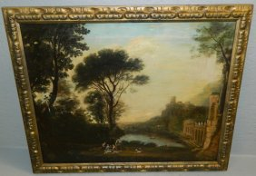 19th C. Oil On Canvas Fantasy Landscape.