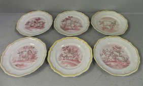 """6 Hand Painted Faience Plates. 8 7/8"""" Dia."""