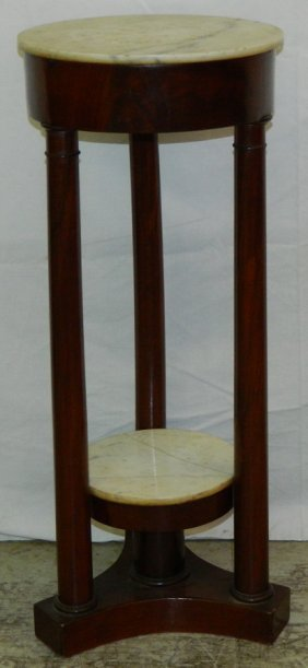 """Marble Top Fern Stand. 12"""" Round X 29 1/2"""" Tall."""