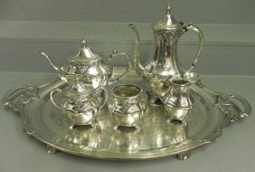 6 Pc Silver Plate Tea Service By Community.