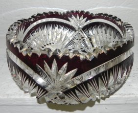 American Brilliant Period Cut To Clear Glass Bowl.