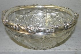 Brilliant Cut Glass Bowl With Gorham Sterling Rim