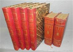 Group of six 19th C. leather bound books