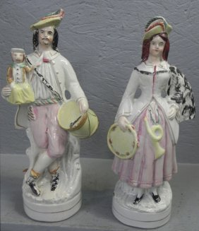 Pair Of 19th C. Staffordshire Musical Figures.
