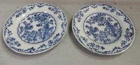 """2 18th C. Blue And White Delft Plates. 9"""" Dia."""