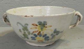 "18th C. Delft Bowl With Strap Handle. 8""dia."
