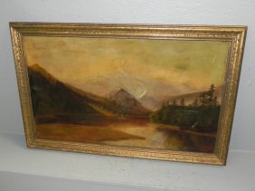 19th C. Signed Landscape Oil On Canvas.