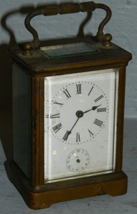 Brass Carriage Clock With French Movement.