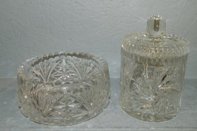 Cut Glass Bowl And Biscuit Jar.
